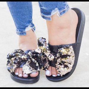 Black and rose gold sequin slide sandals